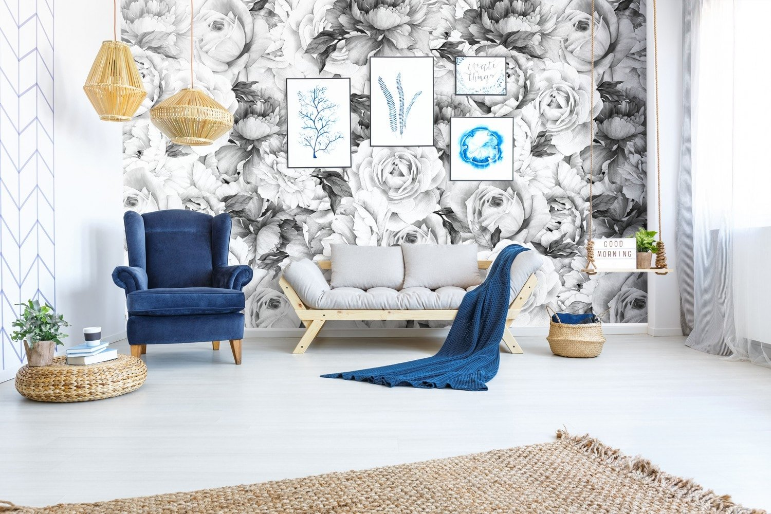 Classic Peony Wallpaper Black And White Removable Wallpapers Wall Stickers Wall Decals Australia
