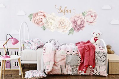 Classic Pink Peony & Rose Wall Decals-half