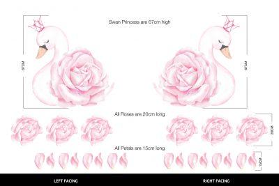 Swan Princess Pink decal Set