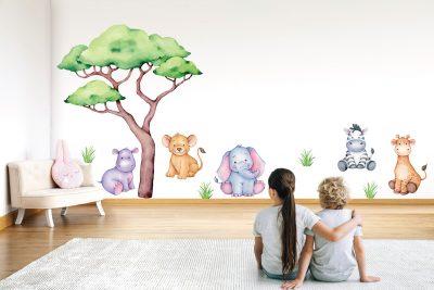 Large Safari Animals Wall decals set
