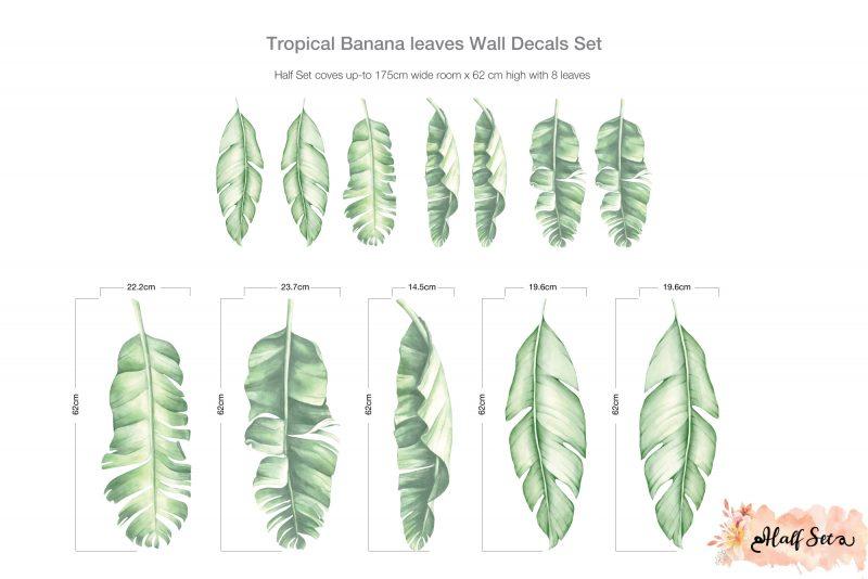 Tropical Banana leaves Wall Decals Set