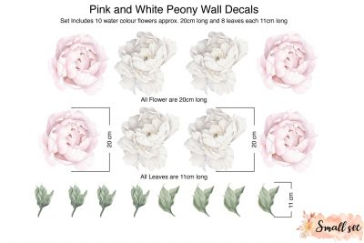 Small Pink-and-White-Peony-Wall decals
