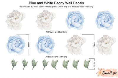 Small Blue and White peony wall Decals