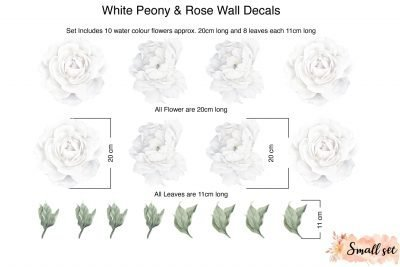 Small White Peony and rose wall decals